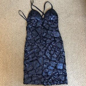 Blue Sequin Backless Cocktail Dress